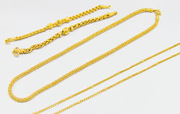 Golden jewelry set Stock Images