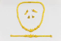 Golden jewelry set Royalty Free Stock Images