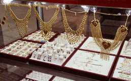 Golden jewels in shop. Istanbul Royalty Free Stock Photo