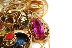 Golden jewerly background Stock Photo