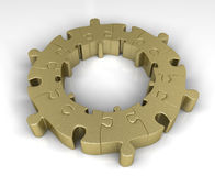 Golden jigsaw puzzle circle Royalty Free Stock Photo