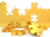 Golden Jigsaw Puzzle Pieces. Thick gold jigsaw puzzle pieces falling out of a 3d background Royalty Free Stock Photography