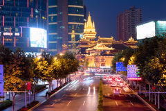 Golden Jing`An Temple, Shanghai China. Royalty Free Stock Image
