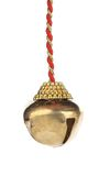 Golden jingle bell on a rope. Stock Image