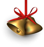 Golden jingle bells with red bow Royalty Free Stock Image