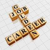 Golden job and career crossword. 3d gold boxes with text - golden job, career, crossword Stock Images
