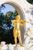 Golden Johann Strauss Statue Royalty Free Stock Photography