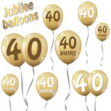 Golden jubilee balloons Stock Photos