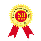 Golden jubilee. Banner with bright sun light effect Stock Photography