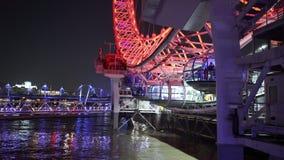 Golden Jubilee Bridge and London Eye. LONDON, ENGLAND stock video footage