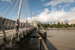 Golden Jubilee Bridge in London over the Thames Royalty Free Stock Photo