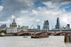 Golden Jubilee Bridges and Thames River,  London, United Kingdom Royalty Free Stock Image