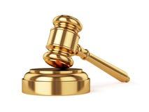 Golden judge gavel. 3d render of golden judge gavel  on white background Stock Image