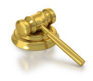 Golden judge's hammer at rest. Justice hammer at rest on white background Royalty Free Stock Photos