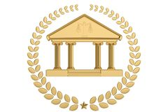 Golden judicial icon isolated on white background. 3D illustration.  vector illustration