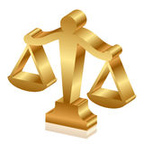 Golden justice scales Royalty Free Stock Photography