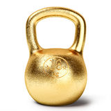 Golden kettlebell weight. On white background Stock Images