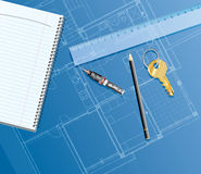 Golden key. Realistic illustration with blueprint, ruler, golden key and pencil Royalty Free Stock Photography
