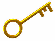 Golden key, 3d Royalty Free Stock Image
