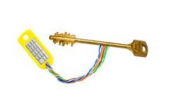 Golden key. Electronic golden key with numpad royalty free stock images