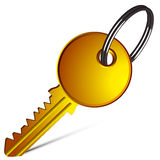 Golden key against white Royalty Free Stock Photo