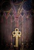 Golden Key on Ancestral Book Cover Stock Photos