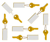 Golden key with banner set Stock Photos