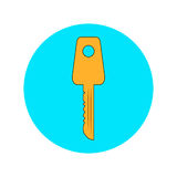Golden key on a blue background. Stock Photos