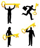 Golden Key Business People. A clip art illustration featuring your choice of 4 business people silhouettes each holding a golden key to represent 'having the key Royalty Free Stock Images