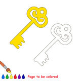 Golden Key cartoon. Page to be colored. Stock Photos
