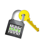 Golden key caught in security closed padlock isolated vector Stock Photos