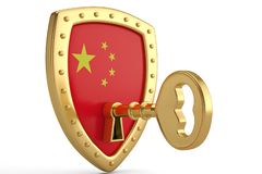 Golden key on china flag shield.3D illustration. Golden key on china flag shield. 3D illustration vector illustration
