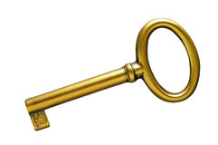Golden key with clipping path Royalty Free Stock Photo