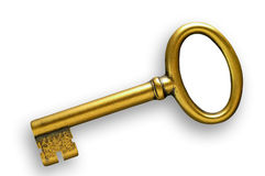 Golden key with clipping path Royalty Free Stock Photography