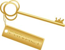Golden key concept privacy Royalty Free Stock Images