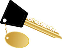 Golden key concept protection Royalty Free Stock Images