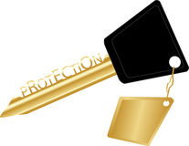 Golden key concept protection Stock Image