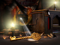 Golden key. 3D illustration of Golden key and Pinnocchio or Buratino Royalty Free Stock Images