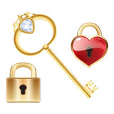 Golden key with diamond and gold closed lock Stock Photos