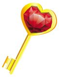 Golden key with diamond heart - love concept - Stock Photos