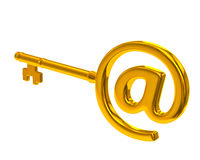 Golden key with e-mail symbol Royalty Free Stock Photo