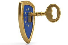 Golden key on EU flag shield.3D illustration. Golden key on EU flag shield. 3D illustration vector illustration