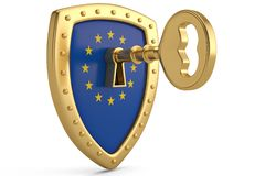 Golden key on EU flag shield.3D illustration. Golden key on EU flag shield. 3D illustration stock illustration