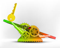 Golden key in green area on swing machine concept vector Royalty Free Stock Photography