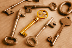 Golden Key and Grunge. Shiny golden key omong old steel keys on worn paper background. Selective sepia toned Royalty Free Stock Photography