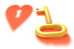 Golden key and heart shadow Stock Images
