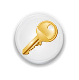 Golden key icon on white app button vector Royalty Free Stock Photography