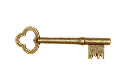 Golden key isolated on white Royalty Free Stock Photography