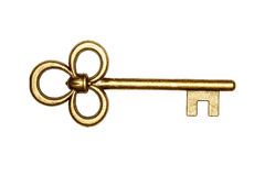 Golden key isolated on white Stock Photos