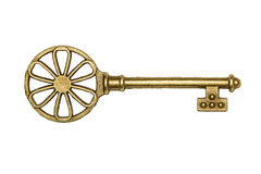 Golden key isolated on white Stock Photo